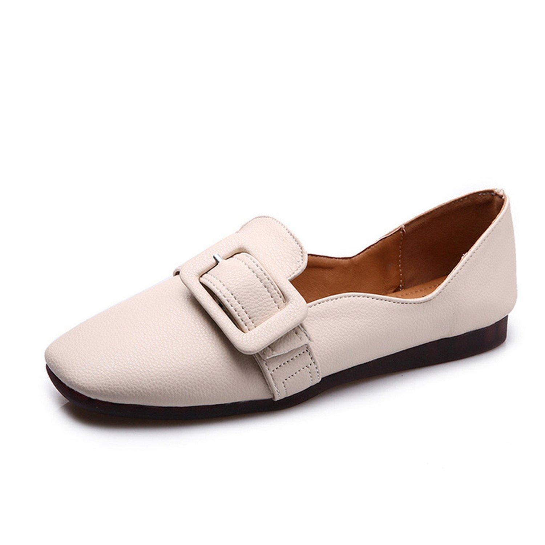 Dahanyi Stylish Square Toe Buckle Flats Women Shoes Woman Single Lazy Plus Size Solid Beige Ladies Shoes Female Flats