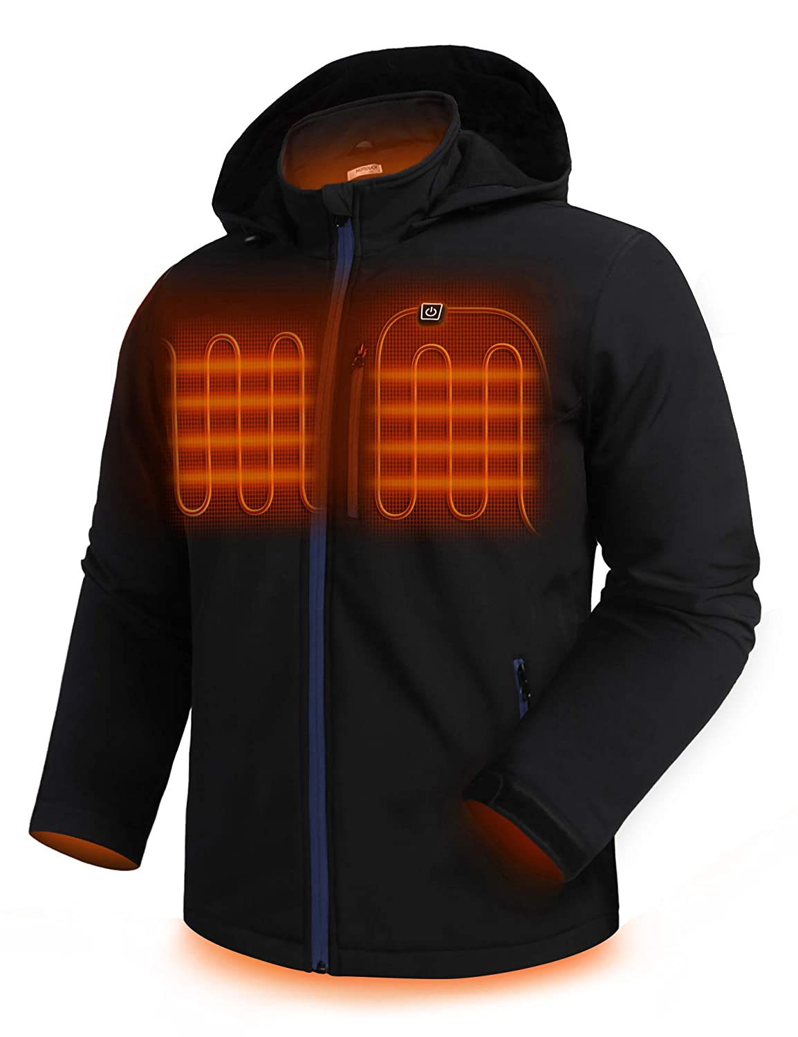 Hotouch Men's Heated Jacket Detachable Hood Coat Zipped Waterproof Thermal Clothing with 5.0Ah Battery Pack