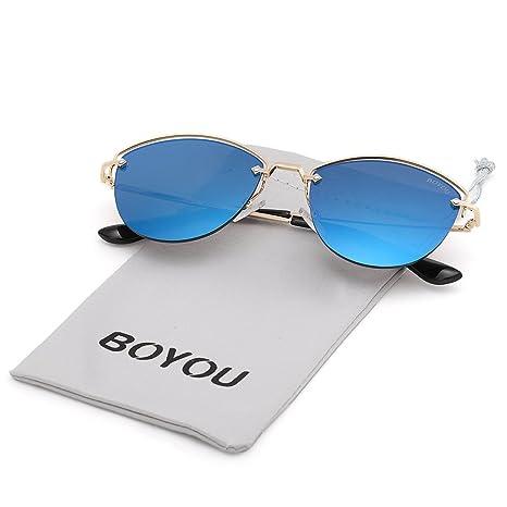 e9f07353577d81 BOYOU Lunettes de soleil Premium Retroviseur Full Retroviseur Aviator avec  protection UV400