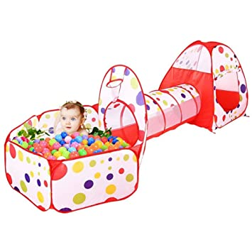reputable site 77389 fdaa6 TYMX Baby Crawling Tunnel Tent Ocean Ball 3 Piece Indoor Outdoor Kids Toys  Ocean Ball Pool Pop-Up Pool Tunnel Teepee Children's Play Tunnel Easy ...