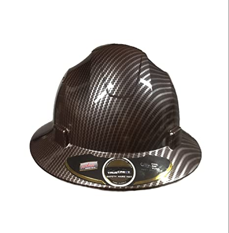 HDPE Hydro Dipped Dark Brown/Burgundy Full Brim Hardhat Carbon Fiber with  Fast-Trac Suspension