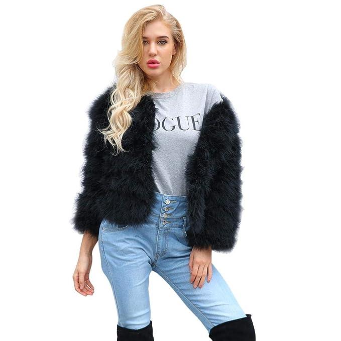 Alian Abrigo de Piel sintética sin Cuello Elegante de Moda Chaqueta de Piel Abrigo para Mujer