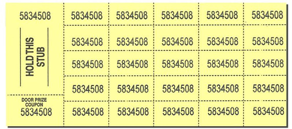 Auction Tickets - 500 Sheets - Yellow by Auction Tickets