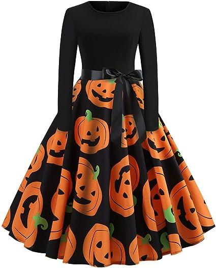 Sammoson Soldes Robe Longue Femme Ete Noir Robes Femme Soiree Ancien Impression Longue Manche Halloween Soir Fete Balancoire Robe Amazon Fr Sports Et Loisirs