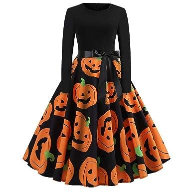 1ea76ff630fd43 VECDY Damen Kleid, Herbst Frauen Vintage Print Langarm Halloween Abendkleid  Swingkleid Karneval Party Kleid Kürbis Print Faltenrock Kleid Pullover: ...