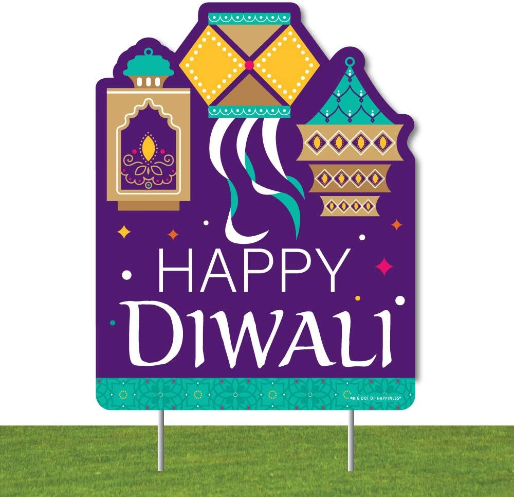 Big Dot of Happiness Happy Diwali - Outdoor Lawn Sign - Festival of Lights Party Yard Sign - 1 Piece