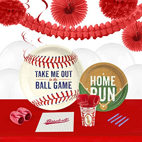 [Baseball Time Childrens Birthday Party Supplies - Tableware and Decoration Pack (16)] (Costume Party Run Times)
