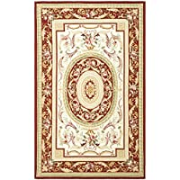 Safavieh Chelsea Collection HK72A Hand-Hooked Ivory and Burgundy Premium Wool Area Rug (79 x 99)