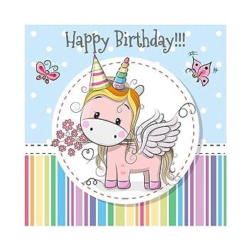 Cassisy 1,8x1,8m Vinilo Unicornio Telon de Fondo Feliz cumpleaños Bandera Fondo de Pantalla de Rayas de Colores Mariposa Fondos para Fotografia Party ...