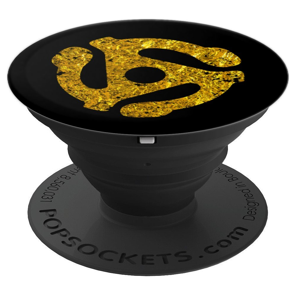 DJ 45 RPM Adapter Turntable Record Music Gold Black - PopSockets Grip and Stand for Phones and Tablets