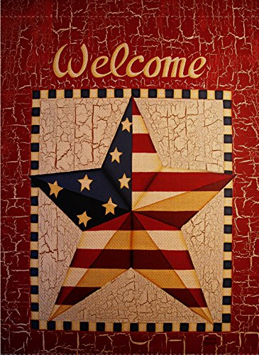 (Dyrenson Decorative Welcome Quote 4th of July Patriotic Garden Flag Double Sided, Rustic Stars Stripes House Yard Flag, Primitive Garden Yard Decorations, American USA Seasonal Outdoor Flag 12 x 18 )