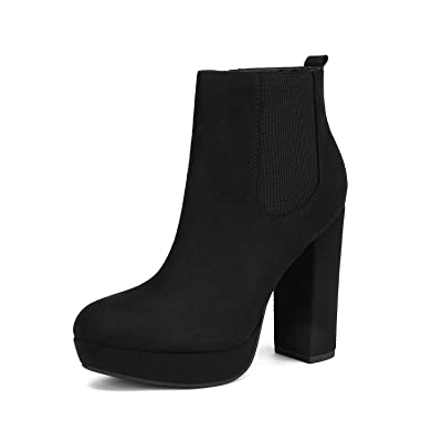 DREAM PAIRS Women's Chunky High Heel Ankle Boots Chelsea Booties | Ankle & Bootie