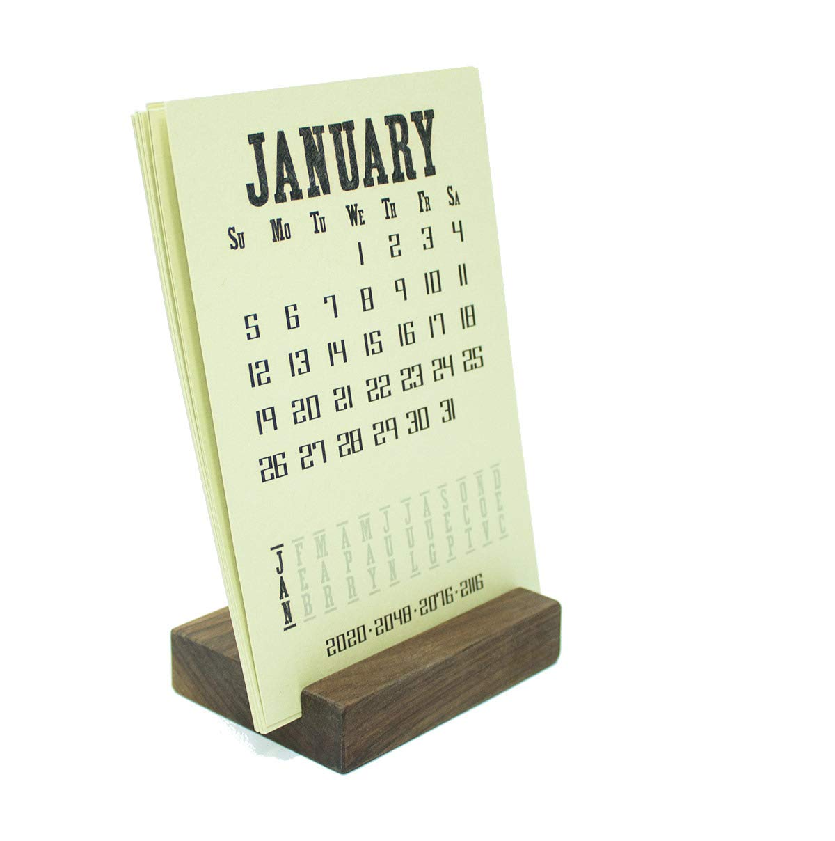 2020 Walnut Wood Block Desk Calendar Stand