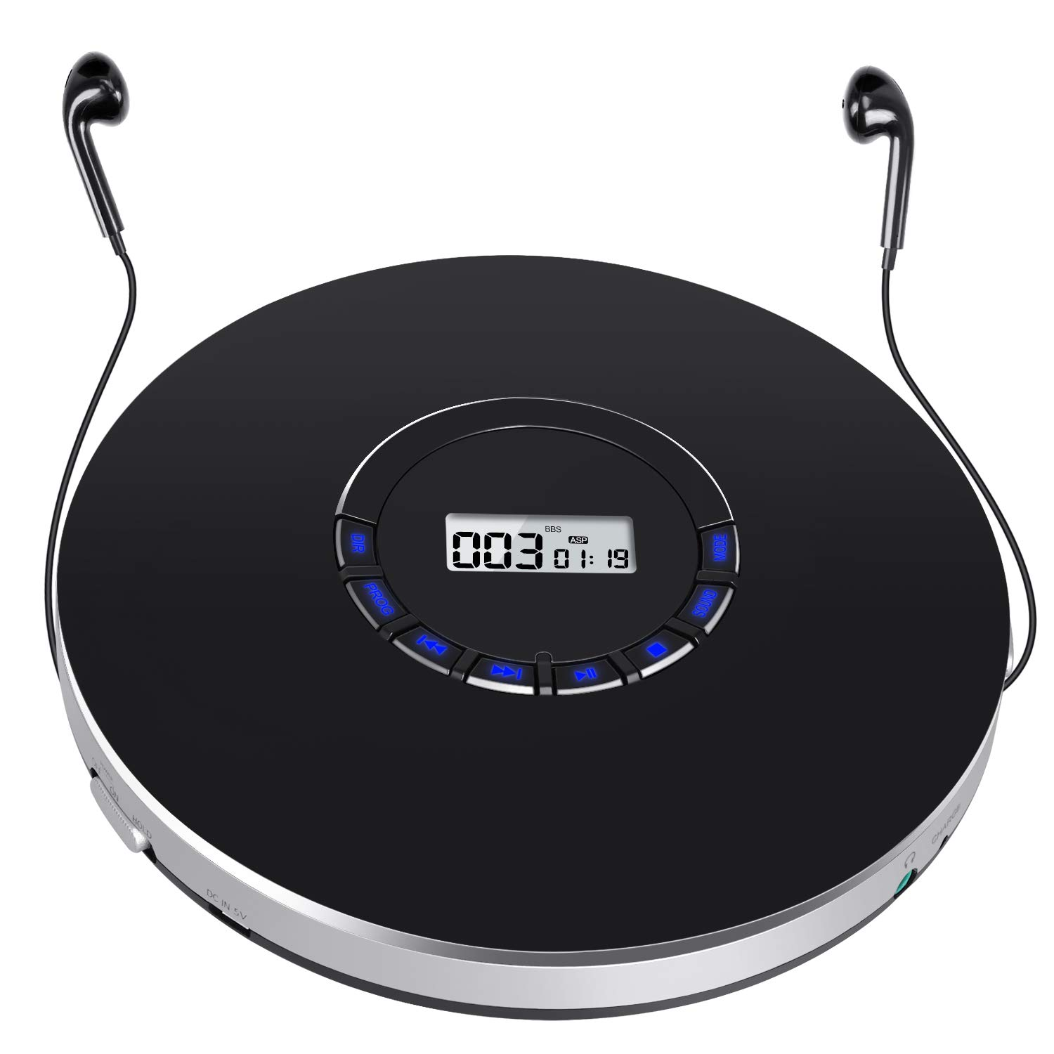 Rechargeable Portable CD Player, Small CD Player for Car, Compact Personal CD Player with LED Backlit Display, 12 Hours Playing Time, Anti-Skip, Shockproof and 3.5mm AUX Cable