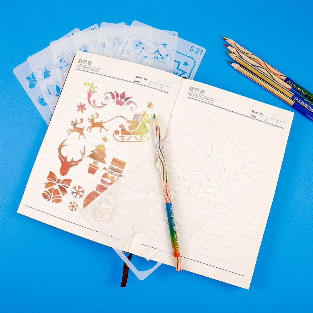 journal scrapbooking dessin travaux manuels Ang/élikashalala Lot de 24 pochoirs pour journal
