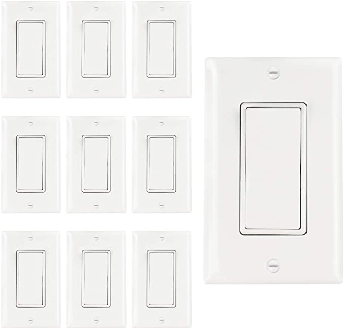 Abbotech Light Switch With Wall Plates Included Decorative On Off Wall Switch Single Pole 15a 120 270v Residential Commercial Grade 10 Pack Ul Listed White Single Pole Amazon Com