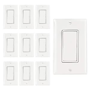 AbboTech Light Switch With Wall Plates Included,Decorative ON/OFF Wall Switch Single Pole,15A,120-270V,Residential&Commercial Grade,10 Pack,UL Listed,White