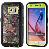 For Samsung Galaxy S6 Case,Fivers(TM) Heavy Duty Case 3 in 1 Three Advantages Waterproof Dustproof Shakeproof with Forest Camouflage Desig Cell Phone Cases for Samsung Galaxy S6 (Tree- Green)