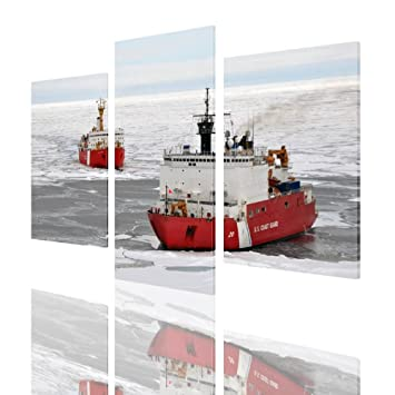 Alonline Art - Ice Breakers Ships Split 3 Panels PRINT On CANVAS (100% Cotton