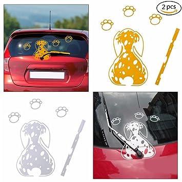 2 x Funny Spotted Dog movimiento cola pegatinas reflectantes traseros de coche Limpiaparabrisas Ventana Adhesivos: Amazon.es: Coche y moto