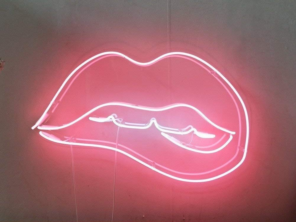 Biting Lips Real Glass Neon Sign For Bedroom Garage Bar Man Cave Room Home Decor Handmade Artwork Visual Art Dimmable Wall Lighting Includes Dimmer