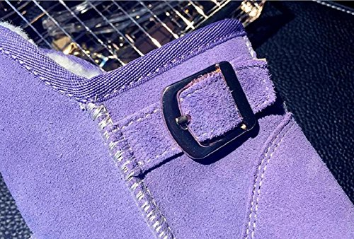 wdjjjnnnv Women's Casual Flat Bootie Short Tube Thickened Lamb Fur Snow Boots PURPLE-39 T4YCfjCB