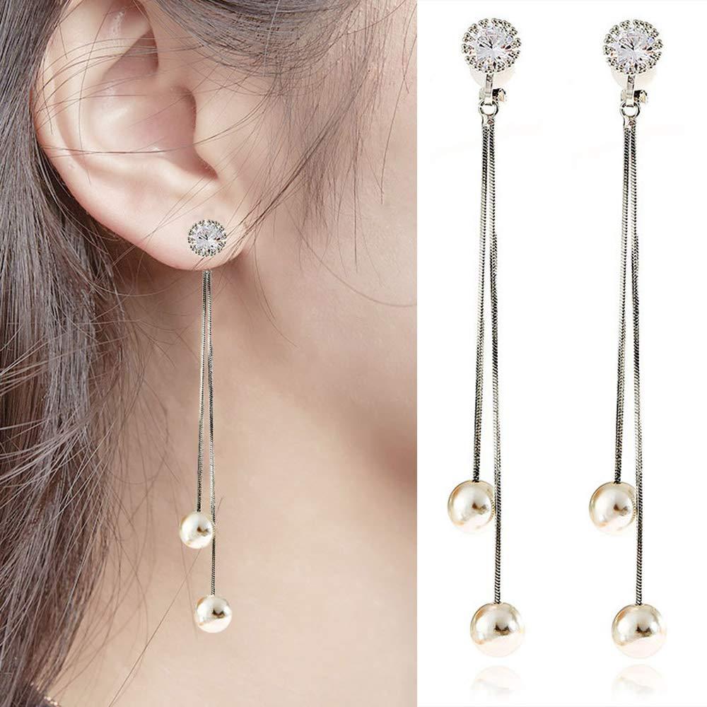 Clip on Earrings Faux Pearl Dangling Tassel Daughter Teen Girls Cubic Zirconia Long Drop Chandelier Boho