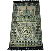 HDI Muslim Prayer Mat Lightweight Thin Istanbul Turkey Sajadah Carpet Islam Eid Ramadan Gift (Green)