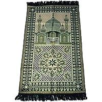 HDI Muslim Prayer Mat Lightweight Thin Istanbul Turkey Sajadah Carpet Islam Eid Ramadan Gift (Green)