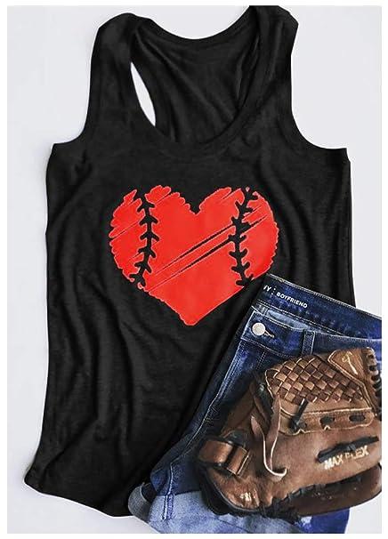 b47a330291dd Amazon.com: Tsun Women Baseball Tanks Heart Print Racerback Tank Top Round  Neck Sleeveless Tops: Clothing