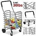 Folding Travel Shopping Cart Jumbo Swivel Wheel Grocery Basket Trolley New Laundry Rolling Portable Cart Aluminum