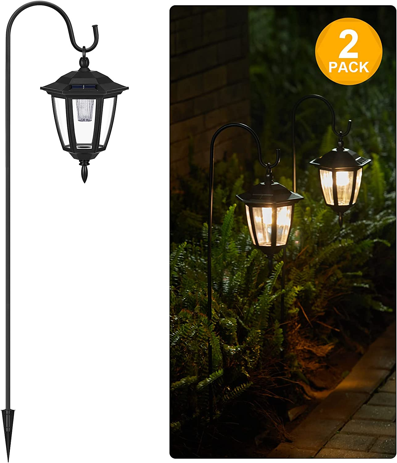 Brightown Solar Lights Outdoor Pathway 2 Pack 38.5 Inch Shepherd Hook with Hanging Lantern Dim to Bright Garden Decor Classic Solar Coach Light for Path Front Porch Outside Yard Patio 3000K Warm White
