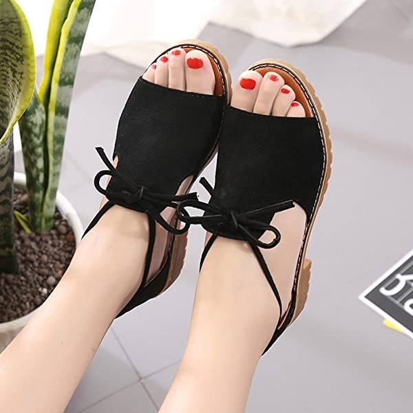 df2d49ccac40 Ladies Lace up Sandals Wedge Espadrilles Summer Chunky Holiday Shoes