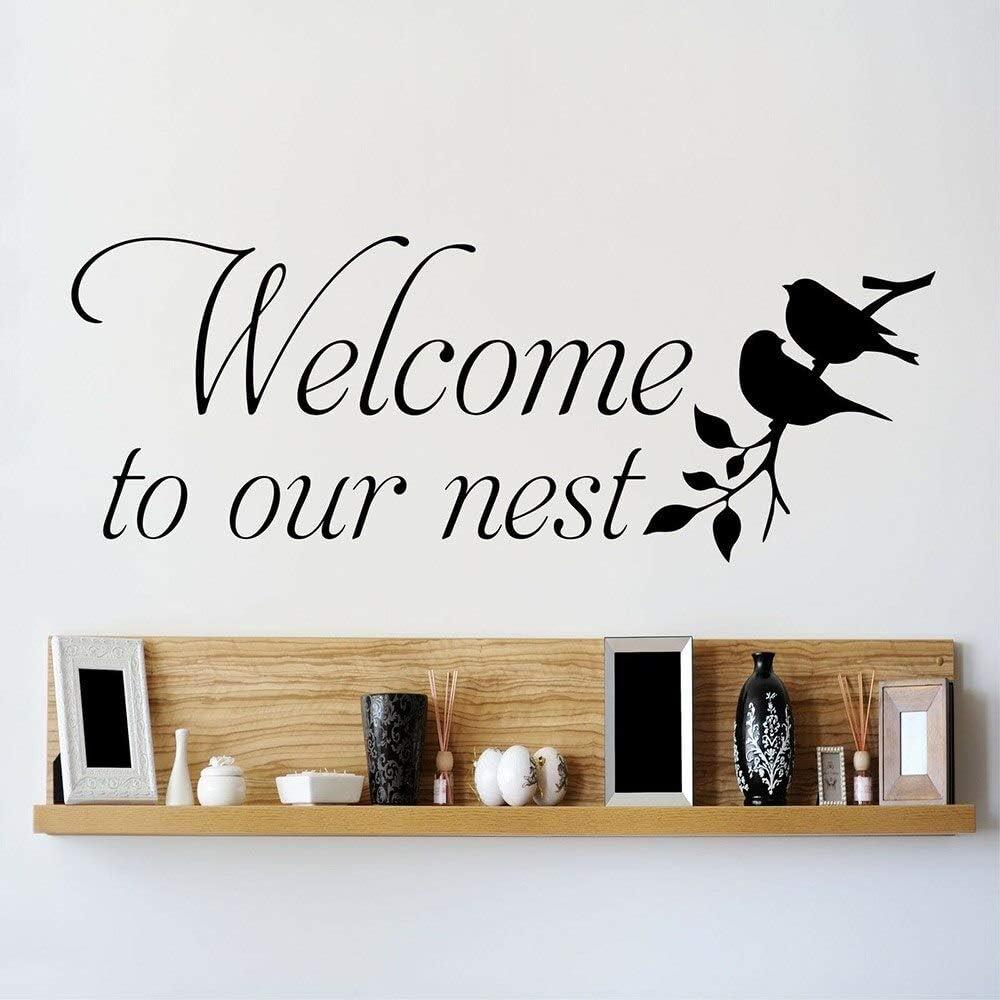 AQjept Calcomanías de Pared de Arte bienvenidos con Nido de pájaro Pegatinas de Pared de Vinilo decoración Sala de Estar decoración del dormitorio31x80cm