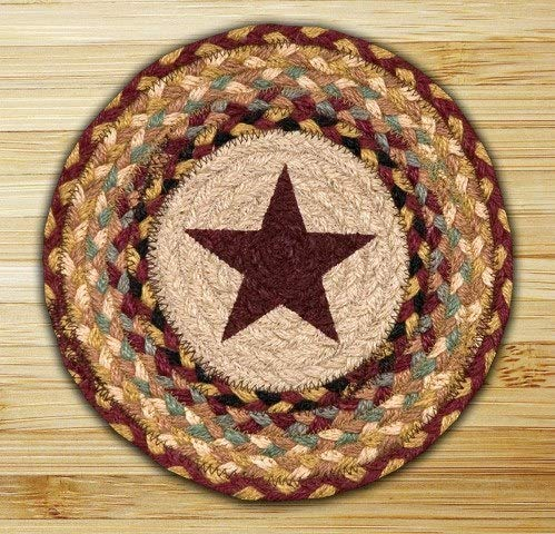 Braided Round Trivets - Earth Rugs 80-357 Printed Round Swatch, 10-Inch, Burgundy Star