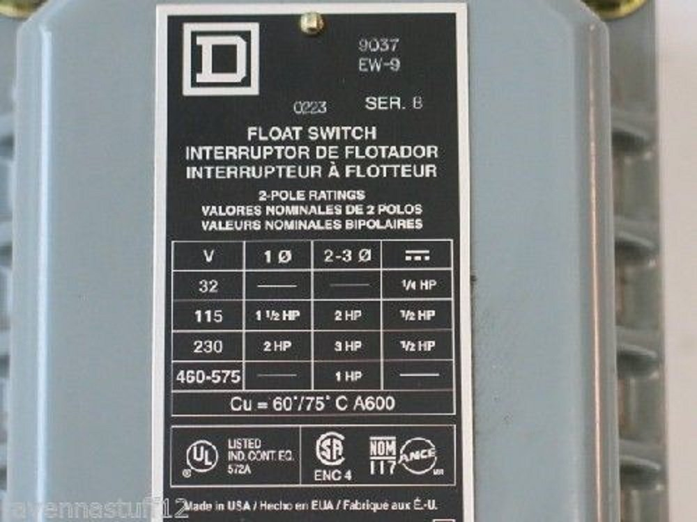 Amazon.com : Square D 9037 EW-9 Float Switch (New no Box) : Everything Else