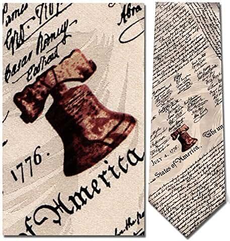 Mens 100% Silk Beige Patriotic Declaration of Independence Necktie Tie