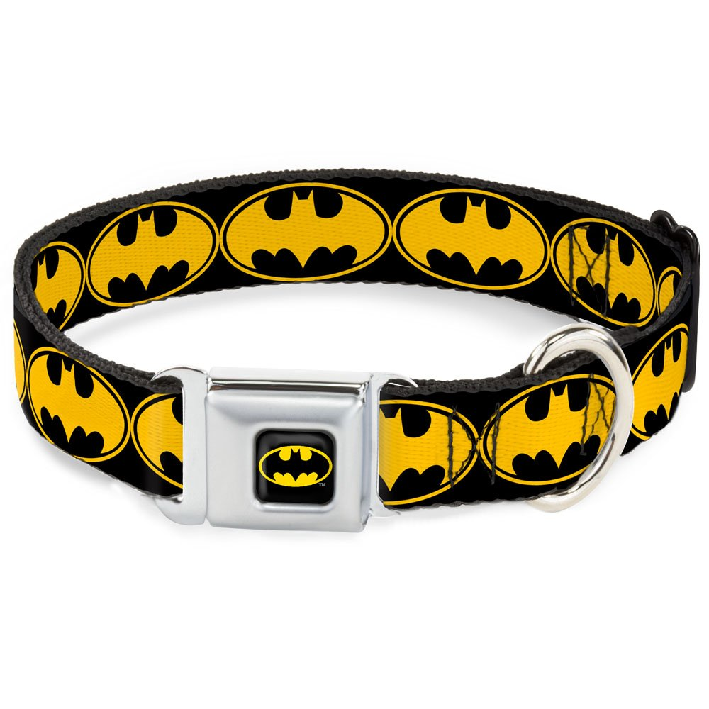Buckle-Down Seatbelt Buckle Dog Collar Bat Signal-3 Black Yellow Black 1  Wide Fits 9-15  Neck Small