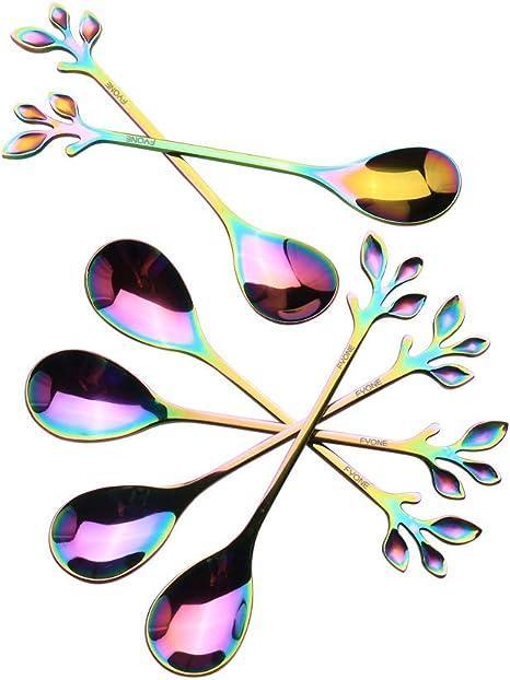 Dessert Fork Set Premium Stainless Steel Leaf Shaped Rainbow Metal Teaspoon