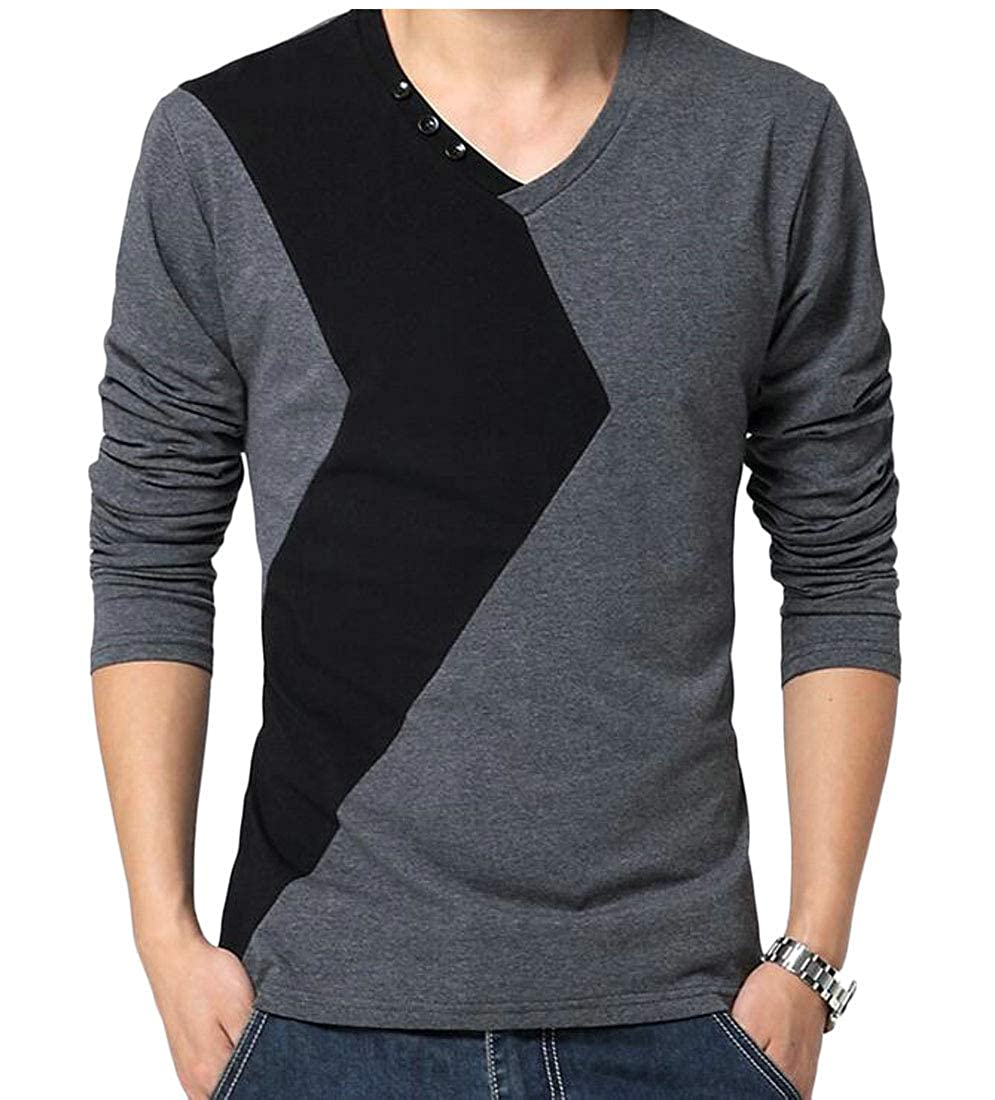 XTX Mens Top Long-Sleeve Contrast Color Stitching V Neck Simple T-Shirts
