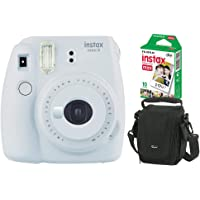 Kit Câmera Instantânea Instax Mini 9 Branco Gelo + Filme Instax Mini 10 fotos + Bolsa Lowepro Preta