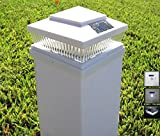 Plastic White 6 x 6 Outdoor 5 LED 78Lumens Solar Post Cap Light Designed to fit on 6x6 Hollow Vinyl/PVC/Plastic or Solid Wood/Composite Posts