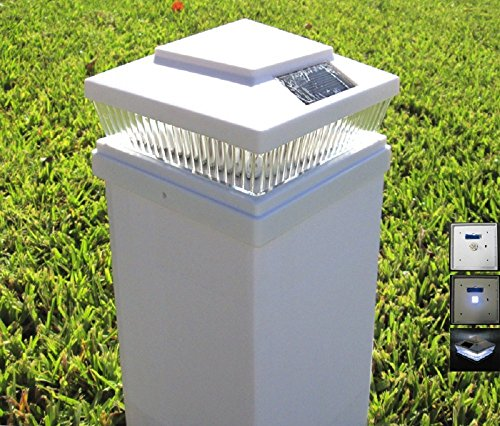 Plastic White 5 X 5 Outdoor 5 LED 78Lumens Solar Post Cap Light Designed to fit on 5x5 Hollow Vinyl/PVC/Plastic or Solid Wood/Composite Posts (White Plastic Post)