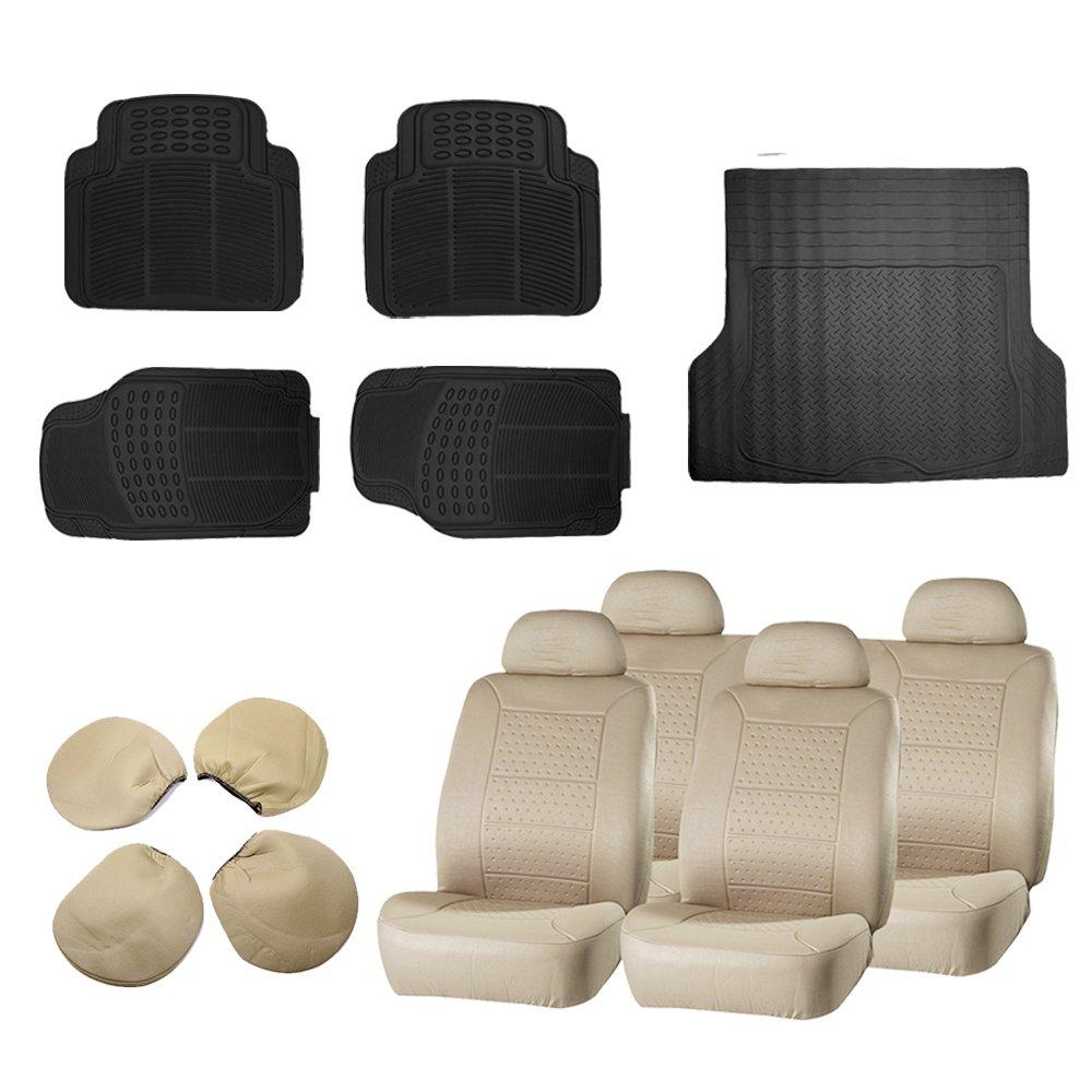 ECCPP Beige Car Seat Covers 5Pcs Car Floor Mats W/Trunk Liner Breathable fit Heavy Duty Vans Trucks(13pcs)