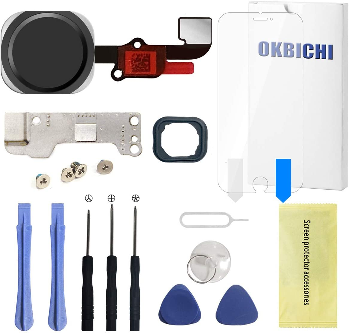 OKBICHI Home Button for iPhone 6s/6s Plus(Black) Main Key Flex Cable Assembly Replacement - Repair Tools with Screen Protector