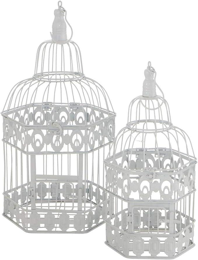 CasaJame - Jaula decorativa de metal (2 unidades, 39-48 cm), color blanco