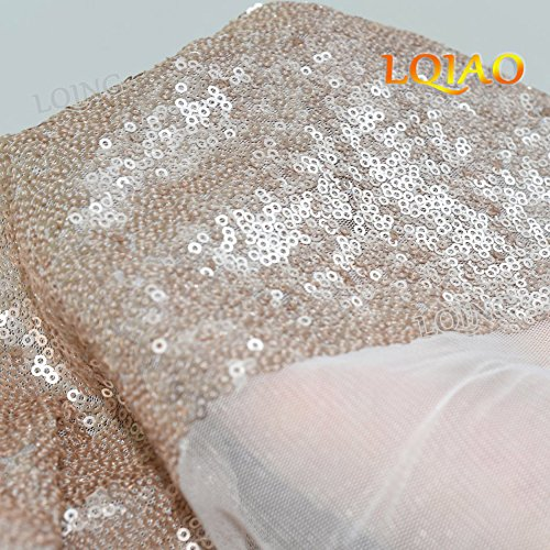 LQIAO 10PCS 90x132-Inch Rectangle Sequin Tablecloth-Champagne Blush for Lavender Wedding Party Decoration by LQIAO (Image #5)