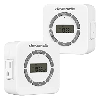 DEWENWILS Digital Indoor Timer for Electrical Outlets, Countdown/Random/DST Mode, 7 Day Light Timers for Christmas Lights & Tree, Aquarium, Lamps, ETL Listed, Pack of 2: Amazon.com: Industrial & Scientific