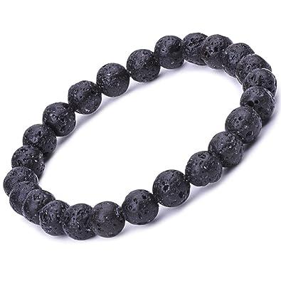 b7e8ffa445 Infinite U Women's Men's Buddha Bracelet 9mm Beads Wrist Mala Lava Stone Stretch  Bracelet, Therapy