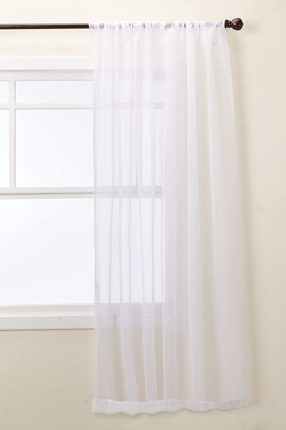 No 918 53566 Emily Sheer Voile Rod Pocket Curtain Panel 59 X 95 White Home Kitchen